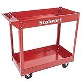 Stalwart Metal Service Utility Cart, Heavy Duty(Red)