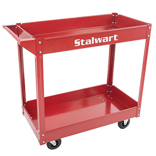 Metal Service Utility Cart, Heavy Duty Supply Cart with Two Storage Tray Shelves- 330 lbs Capacity By Stalwart (Red) by Stalwart