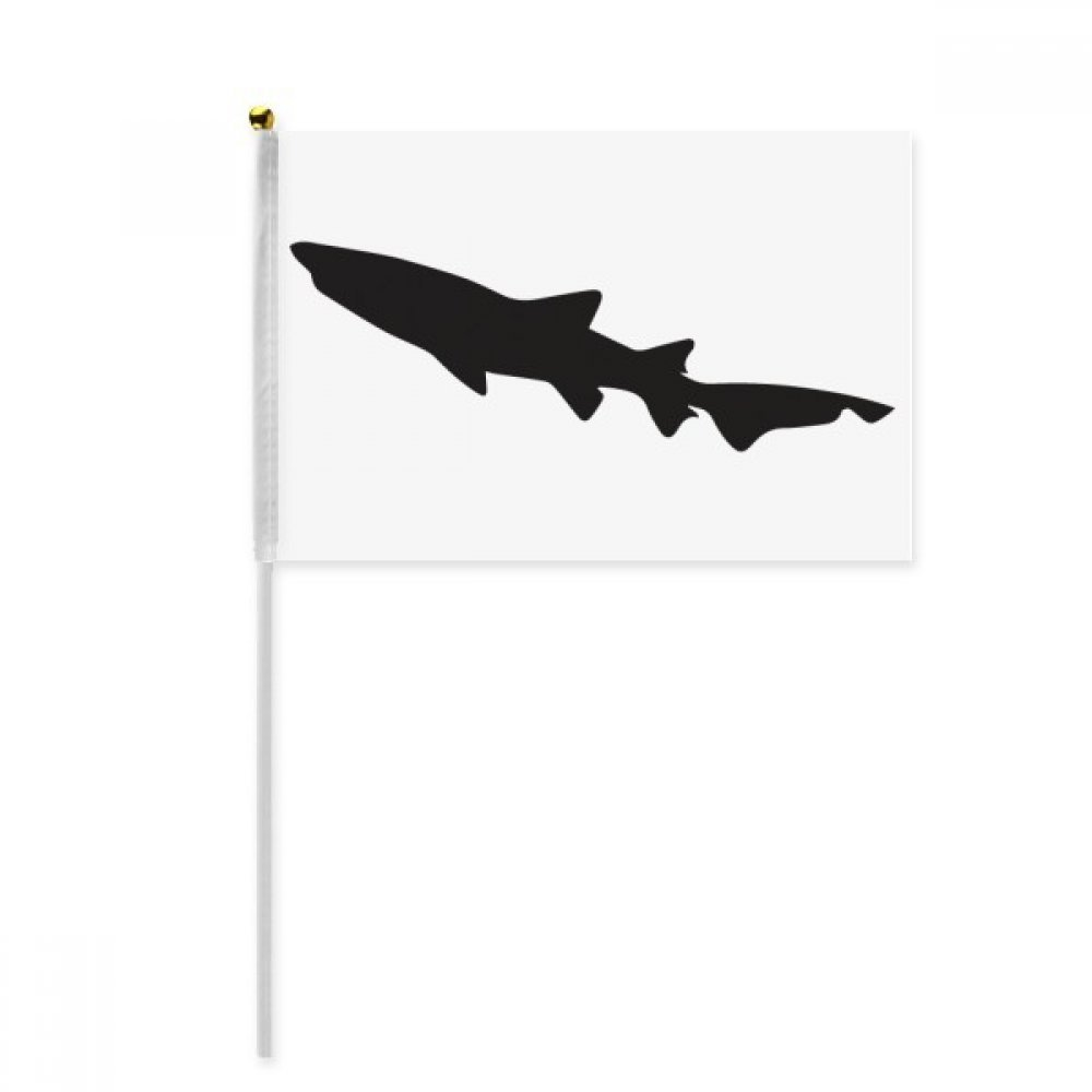 Black Shark Biology Fish Silhouette Hand Waving Flag 8x5 inch Polyester Sport Event Procession Parade 4pcs