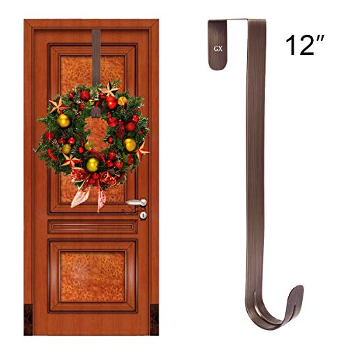 GameXcel Wreath Hanger Over The Door - Large Wreath Metal Hook for Christmas Wreath Front Door Hanger 12