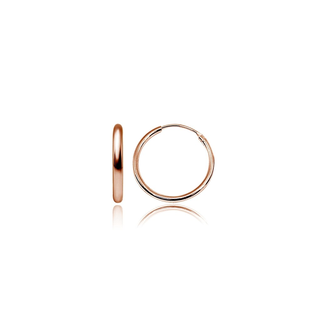 Rose Gold Flashed Sterling Silver Small Medium Endless 2x25mm High Polished Round Lightweight Unisex Hoop Earrings (1 Inch)