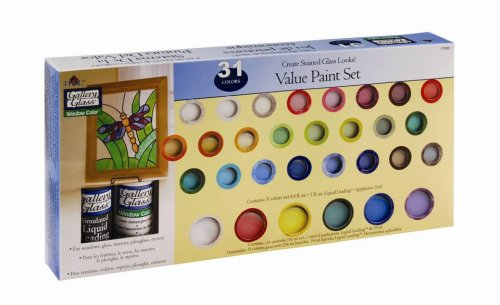 Plaid Gallery Glass Window Color Value Paint Set, 17030 (31-Colors) -