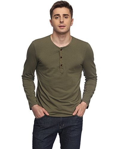 t Long Sleeve Tee Shirt Casual Grandad Neck Tops Army Green L ()