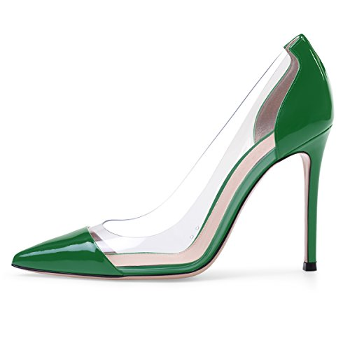 Sammitop Women's Thin Heel Pumps Ladies Pointed Toe Slip On 10cm Dress Shoes US9 Green ()