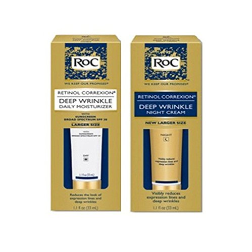 Roc Retinol Correxion Deep Wrinkle Night Cream, and Daily Moisturizer Spf 30 1.1 Fluid Ounces Each Box (Combo Pack)