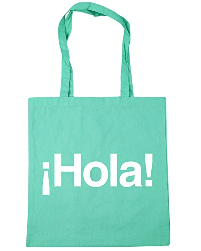 Tote Beach 10 Hola x38cm HippoWarehouse Spanish 42cm litres Gym Shopping Bag Mint Greeting aOSt1wxnq