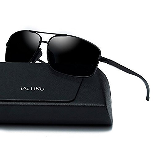 IALUKU Rectangular Polarized Sunglasses for Men Square Retro Aviator Sunglasses (Black / Grey, - Square Aviator