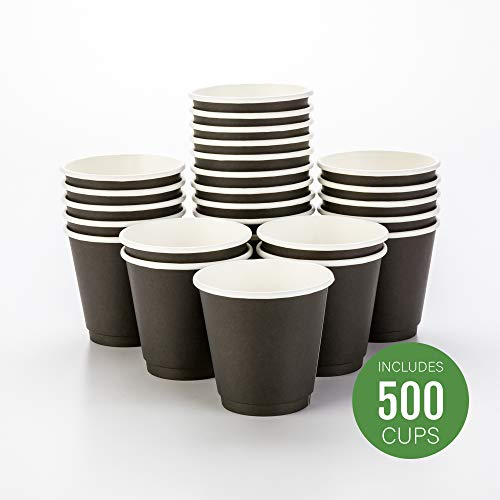 Design Cup - 500-CT Disposable Black 8-oz Hot Beverage Cups with Double Wall Design: No Need for Sleeves - Perfect for Cafes - Eco Friendly Recyclable Paper - Insulated - Wholesale Takeout Coffee Cup