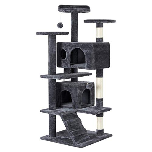 Yaheetech 51in Cat Tree Tower Condo Furniture Scratch Post for Kittens Pet House Play (Best Cat Trees For Multiple Cats)