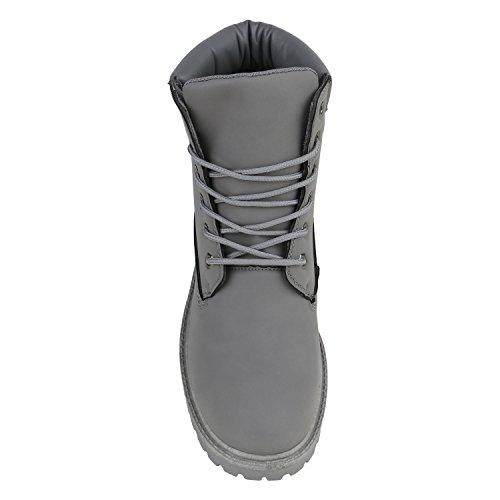 Stiefelparadies Gefütterte Herren Worker Boots Outdoor Schuhe Schnürstiefel Flandell Grau Bexhill