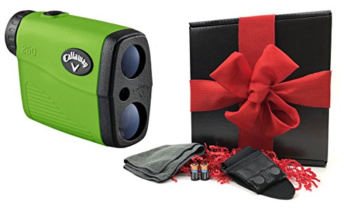 Callaway 250 Golf Rangefinder GIFT BOX | Includes Golf Rangefinder with Carrying Case, Magnetic Golf Cart Mount, PlayBetter Microfiber Towel and Two (2) CR2 Batteries | Black Gift Box, Red Bow by PlayBetter