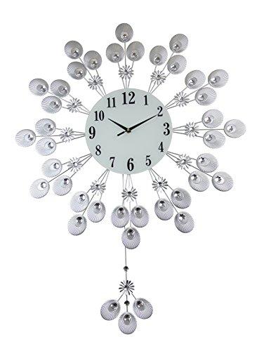Elegant Silver Peacock Pendulum Wall Clock with Crystal (Crystal Silver Clock)