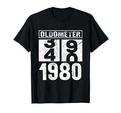 Oldometer 39 40 Born In 1980 Funny Birthday Dad Mom Gift T-Shirt