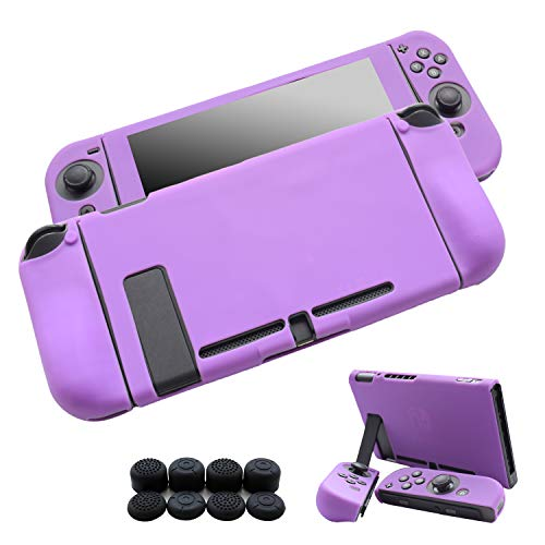 Hikfly 3pcs Silicone Gel Non-Slip Cover Skin Protector Case Kits Compatible for Nintendo Switch Consoles and Joy-Con Controllers with 8pcs Silicone Gel Thumb Grips Caps(Purple)