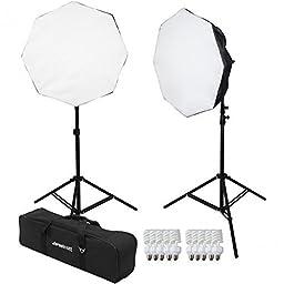 Westcott 2 Light D5 Daylight Octabox Kit with Case, 2x D5 5-Socket Light Head, 10x Fluorescent Lamp, 2x Power Cord, 2x Octabox, 2x 6.5\' Light Stand