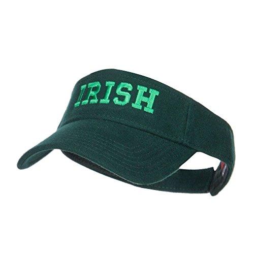 e4Hats.com Irish Embroidered Cotton Knit Visor - Dk Green OSFM