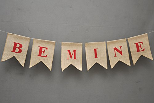 BE MINE Valentine Banner - Gift For Her - Rustic Valentine Day Flag Burlap - Holiday Décor - Wedding Engagement - Heart - Love Pennant Decor - Gift For Him - Chic Be Mine Bunting (Valetines Gift For Him)