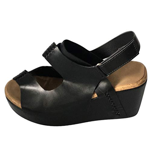 - Women's Wedge Sandal,Sunyastor Peep Toe PU Belt Buckle Blocking Hook-Loop Fashion Wedges Heel Beach Sandals Summer Shoes Black
