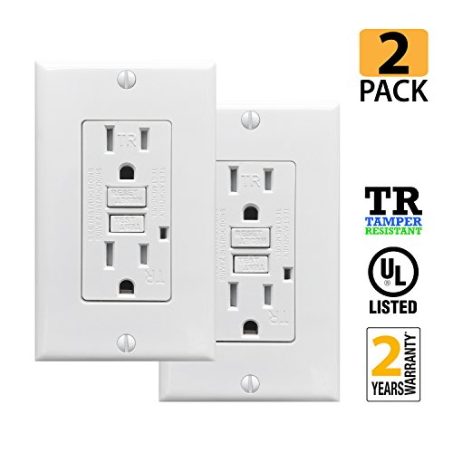 PROCURU 2 Pack - 15A Tamper Resistant GFCI Receptacle Outlet with LED Indicator with Wall Plate and Screws, White - UL Listed (2-Pack) ()