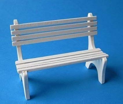 Casa de muñecas Banco de jardín blanco o Colores naturales Miniaturas 1:12 - blanco