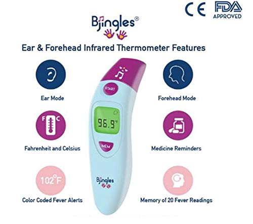 Bjingles Digital Ear & Forehead Infrared Medical Thermometer - Ideal to Check Fever for Baby, Infant,Toddler, Kids and Adults -FDA & CE Approved