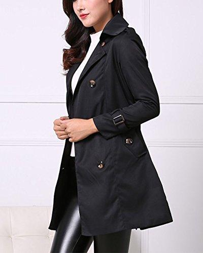 Veste Double Manteau Ceinture Noir Mince Avec Femmes Parka Boutonnage Trench 6qRxXwWavA