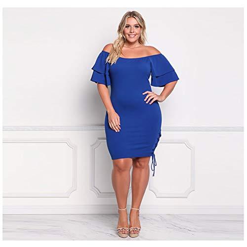 Da Off Primavera Gonna Hechen the Di Grandi Estate Blue Asimmetrica Ed Donna Abito Anca spalla Sexy Dimensioni AxgwOgTE