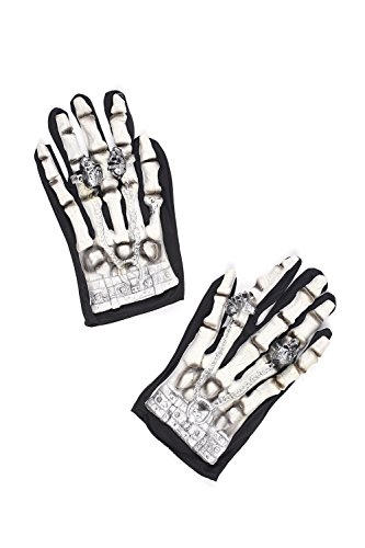Adult Skeleton Gloves Halloween Accessory Death Grim Reaper Dress Up & Role Play (One Size - Fits All, black, white)