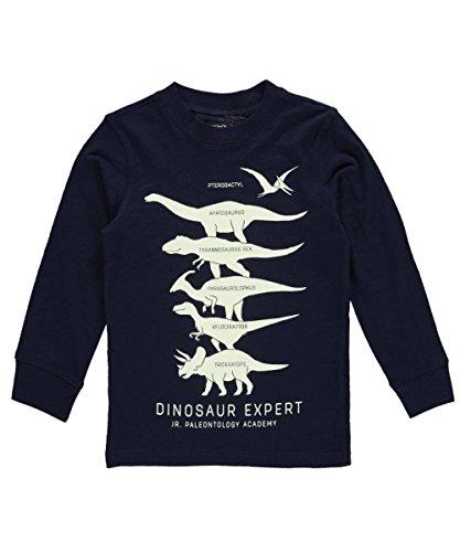 Carters Little Boys Long-Sleeve Glow-In-The-Dark Dinosaur Expert Graphic Tee 2T