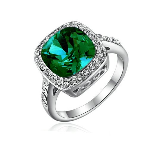 Yoursfs 2.5ct Gorgeous Simulate Emerald Ring with Austrian Crystal 18k White Gold Plated Wedding Ring for Women (7)