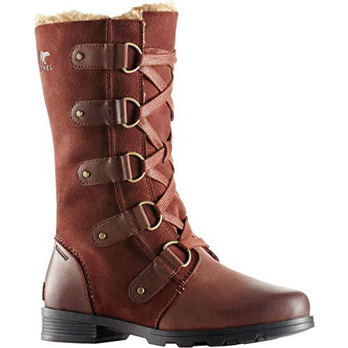 Sorel Womens Emelie Lace Fleece Waterproof Suede Winter Snow Calf Boots - Burro - 10 (Snow Boots Winter Lace)