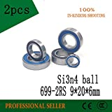 Fevas 2pcs 699-2RS 699 si3n4 Balls Hybrid Ceramic deep Groove Ball Bearing 9x20x6mm for Bicycle Part hubs