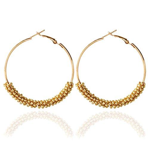 Dcfywl731 Bohemian Circle Colorful Beaded Earrings,CHUYUN Gold Plated Hoop Dangle Earrings for Girls - Beaded Gold Bead Plated