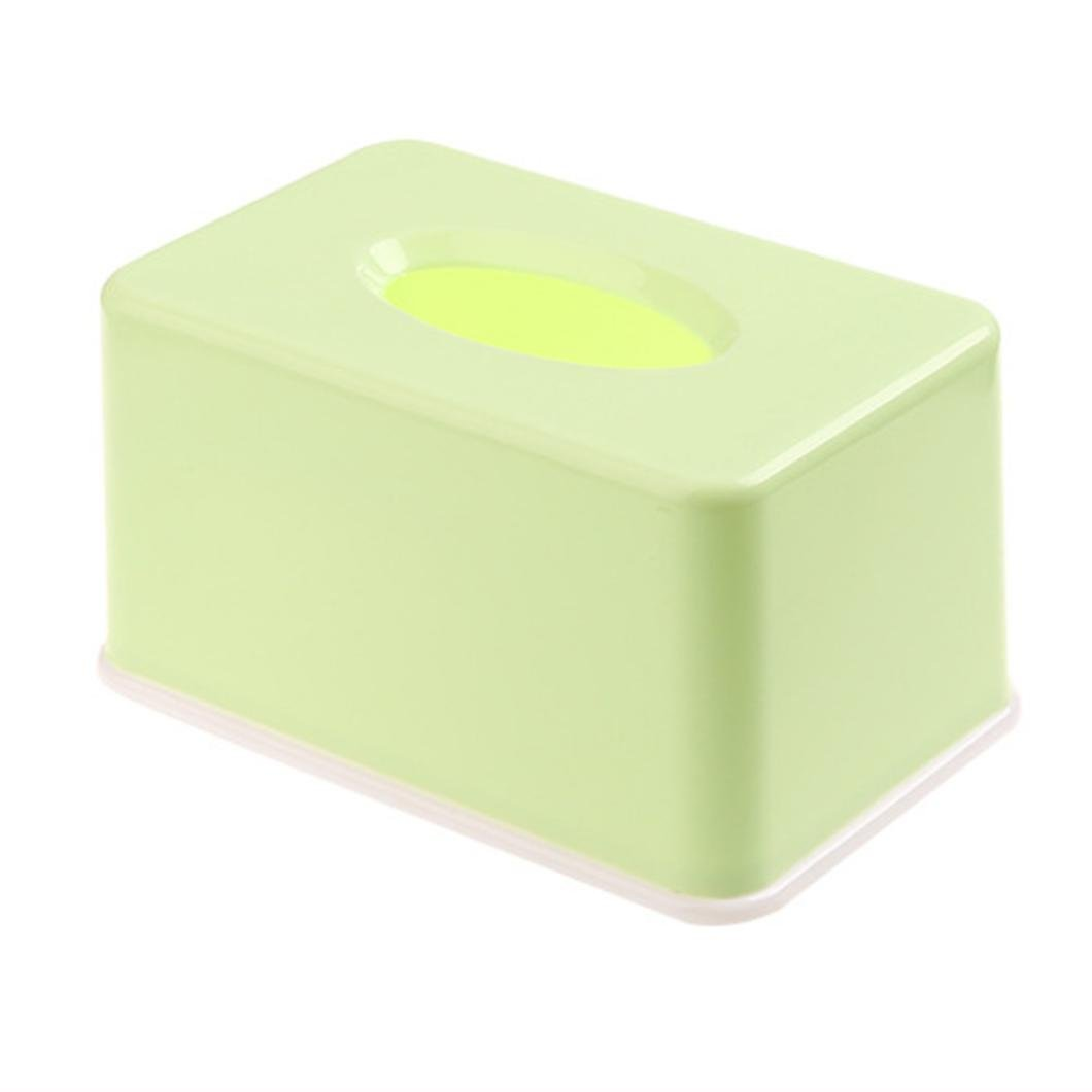 LiPing Home Simple Plastic Facial Tissue Holders Box/Holders for Bathroom Vanity Countertops,Bedroom Dressers, Night Stands, Desks and Tables (Green)
