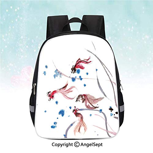 Kids School Backpack,Chinese Traditional Ink Painting Stylized Koi Fish Figures Asian Ethnic Artwork,13