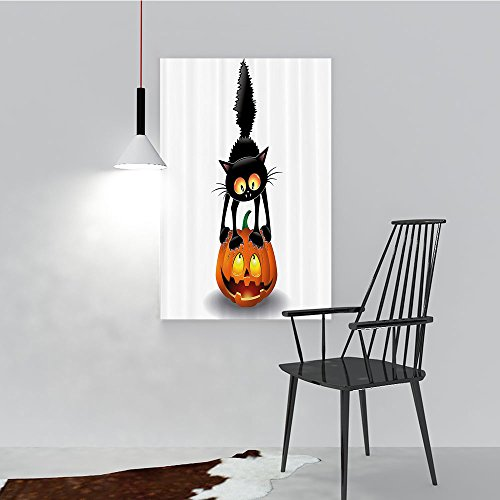 Philip C. Williams Wall Art Frameless Black Cat Pumpkin Head Spooky Carto Characters Halloween Humor Themed for Living Room, Bedroom,Hotel and so on W44 x H64