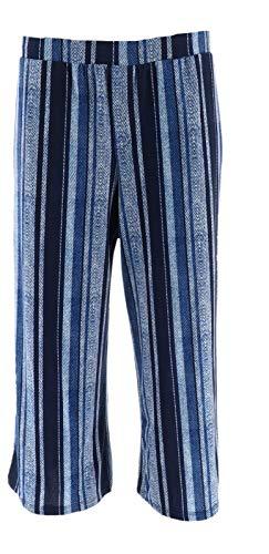 - Susan Graver Printed Liquid Knit Pull-On Crop Pants Navy Stripe M New A301157