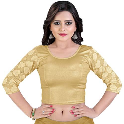 Sleeve Choli - Women's Stretchable Readymade Indian Ethnic Saree Blouse Crop Top Choli (B212) Gold