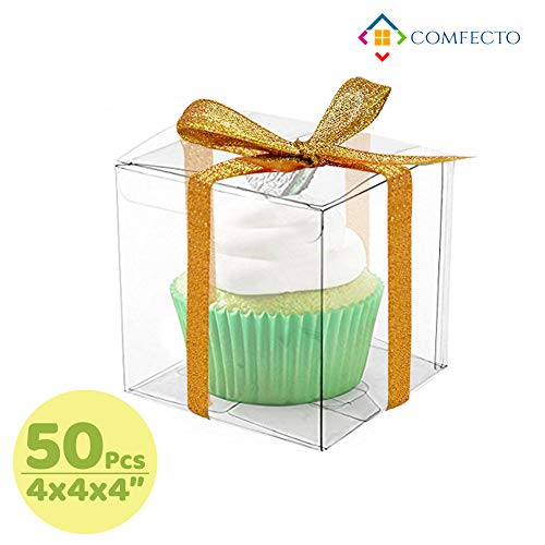 Clear Plastic Box Packaging - COMFECTO Clear Boxes for Favors 4x4x4, 50 pcs Transparent Giftbox for Macaron Cupcake Candy Cookies Ornament GiftsWedding Party Baby Shower, Single Individual Packaging for Display