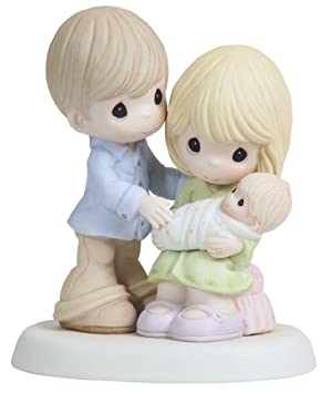 Precious Moments, In Our Hearts From The Very Start, Bisque Porcelain Figurine, 112004
