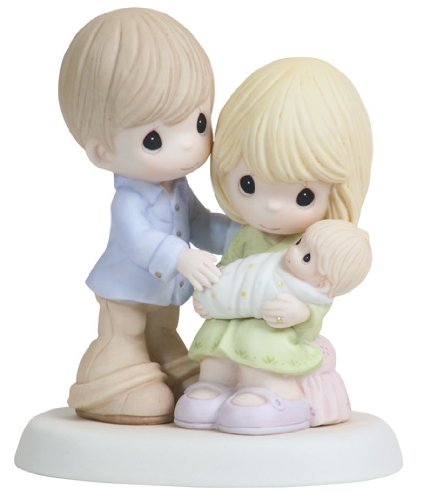 New Bisque - Precious Moments,  In Our Hearts From The Very Start, Bisque Porcelain Figurine, 112004