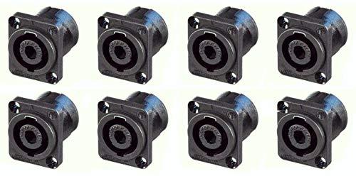 - 8 Genuine Neutrik NL4MP 4-Pole Locking Speaker Speakon Panel Mount, Solder Tabs