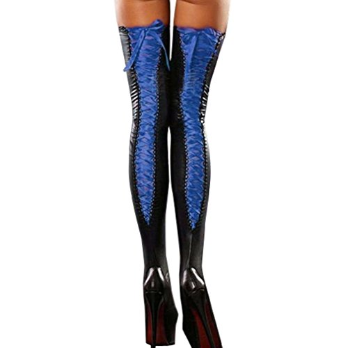 Price comparison product image 2017 NEW! Napoo Hot Women Comfortable Thigh-high Stockings Leather Lace Up Bow Long Socks (D)