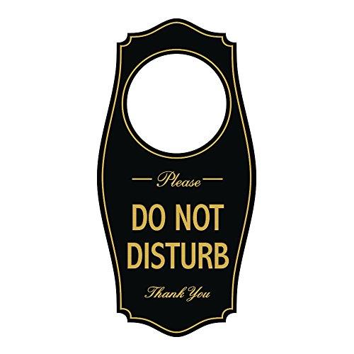 Do Not Disturb Door (Please DO NOT DISTURB Door Hanger - Black / Gold, 4