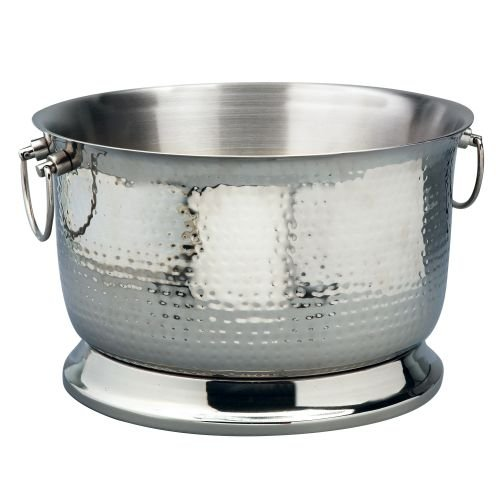 Elegance Silver 72622 Double Wall Hammered Stainless Steel Party Tub, 5 gal