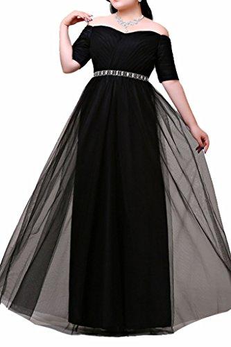 Charmant Damen Einfach Ueber Groesse Schwarz Kurzarm V-ausschnitt Abendkleider promkleider Quincenerakleider Lang
