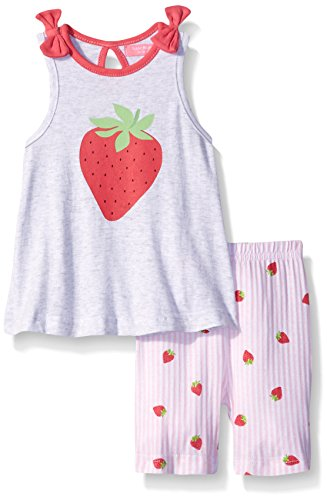 Isaac Mizrahi Baby Girls' 2 Piece Strawberry Popover Top and Capri Pant Set, 0-3 Months