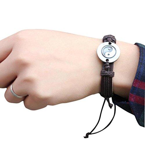 Clearance ! Bracelet, Fitfulvan 2018 Tai Chi Ying Yang Men Women Woven Wristband Jewelry Watches Bracelets (Brass Circular Charm)