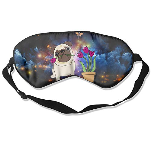 QQMIMIG Sleeping Eye Mask White Tulip Pug Natural Silk Eye Mask Cover with Adjustable Strap