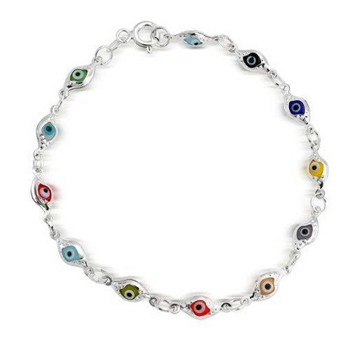 Thin Tiny Turkish Protection Colorful Multi Color Evil Eye Bracelet For Teen For Women 925 Sterling Silver
